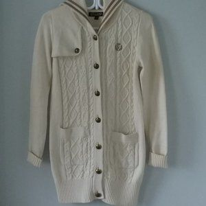 Beautiful long hooded cable knit cardigan sweater